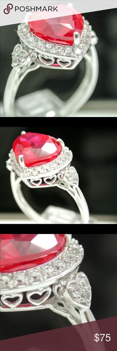 Designer Auth 925 SS, Ruby & White Sapphire Ring This Breathtaking Ring is crafted in Solid .925 Sterling Silver & 18k White Gold Overlay. The ring contains 0.56ctw of man-made White Sapphire and 5.00ctw of man-made Ruby. Total weight for this Ring is 4.2 grams. This ring says it's a size 6 & it fit me when I tried it on but is now big & I'm assuming it's bc I lost so much weight but am going to size it again to be sure. This was a gift, I know it cost a lot but I never wore it due to the…