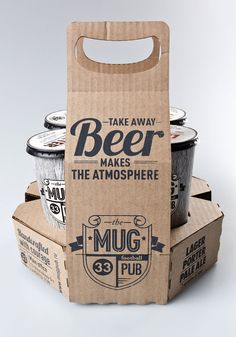 Spotlight: MUG pub I like the packaging! way better than those egg carton things for drinks that are hard to carry.I like the packaging! way better than those egg carton things for drinks that are hard to carry. Cool Packaging, Beer Packaging, Food Packaging Design, Packaging Design Inspiration, Branding Design, Vintage Packaging, Paper Cup Design, Cardboard Packaging, How To Make Beer
