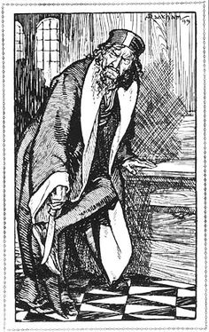 Shylock was sharpening a long knife - The Merchant of Venice from Tales From Shakespeare by Charles and Mary Lamb, 1909