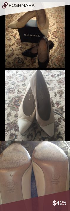 Chanel heels Used Chanel beige/creme OR Chanel black heels. Please read carefully, you are only choosing ONE  pair of Chanel heels for this price. The black fit more like 8.5-9 u.s.and the beige fit like 8-8.5 u.s. Please know your size in Chanel shoes as I do not accept returns. Only ONE pair of your choice at this price. Thank you. CHANEL Shoes Heels