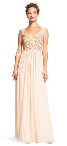 Adrianna Papell | Chiffon Dress with Rose Beaded Bodice