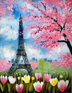 Paris in Spring painting, Eiffel Tower, tulips and pink flowering trees. Canvas Art Projects, Easy Canvas Art, Acrylic Canvas, Canvas Ideas, Canvas Canvas, Paris Kunst, Paris Art, Paris Painting, Spring Painting