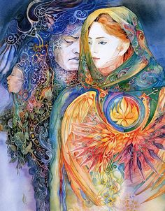 Our shadow is half of the truth of who we are. We can't reclaim our wholeness without embracing our shadow.  'Shadow Side' by Helena Nelson Reed. Hades and Persephone.
