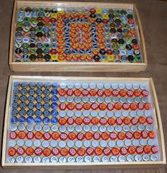 Bottle Cap Trays. Might try this with buttons.