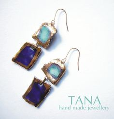 Ceramic earrings turquoise and blue squares with gold by Tanaart
