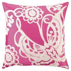 """Linen pillow with an embroidered butterfly motif.  Product: PillowConstruction Material: 100% Linen cover and feather down fillColor: PinkFeatures: Insert includedDimensions: 20"""" x 20""""  Cleaning and Care: Spot clean only"""