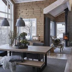 scandinavian cabin in the woods wood paneled modern chalet log home woods modern and cabin scandinavian wood cabins Cabin Interiors, Wood Interiors, Modern Interiors, Cabins In The Woods, House In The Woods, Chalet Interior, Interior Design, Modern Cabin Interior, Brown Interior