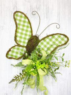 This is a complete wreath kit including the wreath and supplies. All you will need from your stash for the kit is: Glue Wire Cutters Scissors Spanish Moss - Butterfly Kit, Green Butterfly, Summer Wreath, Spring Wreaths, Spanish Moss, Front Door Decor, Farmhouse Decor, Florals, Craft Supplies