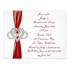 Red Infinity Heart Bachelorette Party Invitation  This is a nice way to gather all the girls for the final fling before the ring! This beautiful  invitation card is all ready to be personalized. Personalize the card by changing the text in the fields provided. You can change font style, size, and color, paper type, as well as change the background color.  http://www.zazzle.com/red_infinity_heart_bachelorette_party_invitation-161478032247384465?rf=238271513374472230  #wedding…