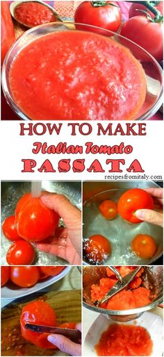 A step by step recipe on how to make a delicious tomato passata recipe.Tomato passata recipe is one of the most useful sauce in Italian cuisine; you can use it to make pizza, or just add it in many pasta sauces. Pureed Food Recipes, Canning Recipes, Sauce Recipes, Veggie Recipes, Healthy Recipes, Tomato Puree Recipe, Chutneys, How To Make Tomato Sauce, Diet