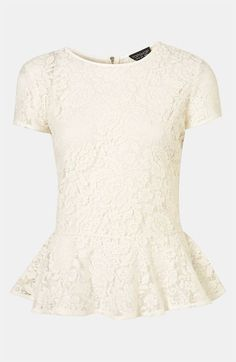 Topshop Sheer Lace Peplum Top available at Nordstrom