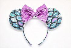 Mermaid mouse ears little mermaid ears disney ears purple Black Diamond Studs, Black Diamond Earrings, Rose Gold Earrings, Stud Earrings, Diy Disney Ears, Disney Mouse Ears, Mickey Ears, Disney Fun, Mickey Mouse