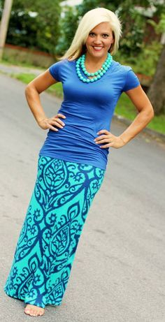 @roressclothes clothing ideas #women fashion blue t-shirt, maxi skirt