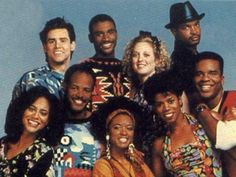 """The """"In Living Color"""" cast of misfits (l-r): Anne-Marie Johnson, Jim Carrey, Keenan Ivory Wayans, Tommy Davidson, T'Keyah Crystal Keymah, Kelly Coffield Park, Kim Wayans, Damon Wayans, and David Alan Grier.  This show launched the careers of these actors, also including Jaime Fox, Jennifer Lopez (she was one of the Fly Girl dancers), and featured guest stars such as Rosie Perez, Chris Rock, and Alexandra Wentworth."""