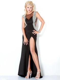 Black Ankle Length Evening Dress With Sequins - http://www.vudress.com/