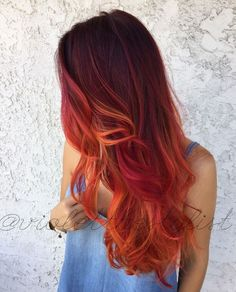 "Haircolor How To: Fiery Phoenix by Amelia ""Violet"" CampRed black and orange hair color Red Orange Hair, Ombre Hair Color, Pink Hair, Red Ombre, Red Hair Orange Highlights, Vibrant Red Hair, Fiery Red Hair, Colorful Hair, Orange Pink"
