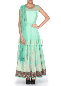 Buy Online from the link below. We ship worldwide (Free Shipping over US$100) SKU -301605. Product link -  http://www.kalkifashion.com/sky-blue-anarkali-suit-adorn-in-zari-and-kundan-embroidery-only-on-kalki.html