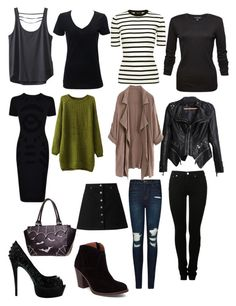"""14 item capsule"" by kathryn-robin-temir on Polyvore featuring Kavu, Theory, MM6 Maison Margiela, J Brand, Miss Selfridge, McQ by Alexander McQueen and Lucky Brand"