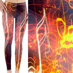 Items similar to Leggings statement red yellow asymmetry vibrant yoga MMA fiery kick-butt music note high contrast photography on Etsy Parlour, Electric, Neon Signs, Leggings, Abstract, Trending Outfits, Unique Jewelry, Handmade Gifts, Hot