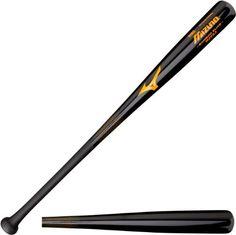 Mizuno Bamboo Elite Wood Baseball Bat, Black/Orange, 32-Inch