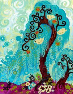 Folk Art Painting ORIGINAL Blue Swirly Willow Tree Print 8x10 White Birds by Natasha Wescoat  Oasis | Bloggeretterized
