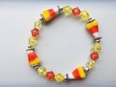 Candy Corn Lampwork Bracelet by CreativeCraftsByBeth on Etsy, $14.99
