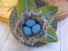 Leafy Nest Brooch by SandhraLee on Etsy