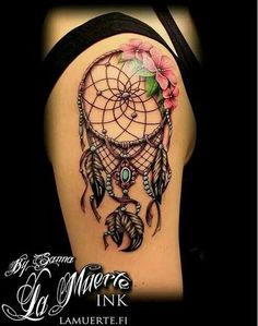 60 Dreamcatcher Tattoo Designs- 60 Dreamcatcher Tattoo Designs Dream Catcher Sleeve Tattoo with Flowers. Feather Tattoos, Nature Tattoos, Body Art Tattoos, New Tattoos, Sleeve Tattoos, Dreamcatcher Tattoos, Celtic Tattoos, Girl Tattoos, Pretty Tattoos