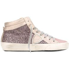 Philippe Model glittery metallic hi-tops ($325) ❤ liked on Polyvore featuring shoes, sneakers, grey, high top leather shoes, gray sneakers, leather high tops, metallic high top sneakers and colorful sneakers