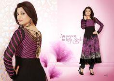 Fancy Designer Red With Black Anarkali #SalwarSuit @ 38% Discount
