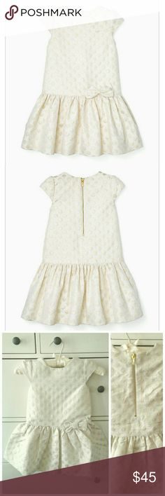 Kate Spade 2Y/4Y/5Y Girls' Gold Dot Dress Kate Spade Girls' Gold Dot Fit and Flare Dress, retail $128, brand new with tag and authentic!  Size 2Y, 4Y, 5Y, cream and gold color, sparking, cute bow details, perfect for special occasions and gifts!   # Carter's Gymboree  Osh Kosh B'gosh Children's Place Gap Old Navy Pottery Barn Kids love pink Burberry Ralph Lauren Matilda Jane Lilly Pulitzer kate spade Dresses Formal