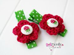 Flower Hair Clips  Crochet Flower Hair Clips Set of 2 by Momilio, $8.00  https://www.etsy.com/listing/193300924/flower-hair-clips-crochet-flower-hair?ref=sr_gallery_23&ga_search_query=hair+clip+set+of+2&ga_order=most_relevant&ga_ship_to=US&ga_page=6&ga_search_type=all&ga_view_type=gallery