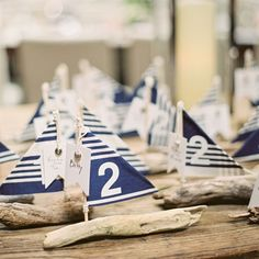 Sailboat Escort Cards.  Perfect for a Nautical Wedding!