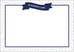 Navy Confetti Flat Note Cards