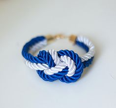 So cute! White and navy blue Nautical Knot  Rope Bracelet by pardes on Etsy, $14.00