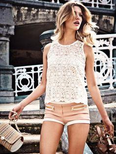 lace top, peach shorts