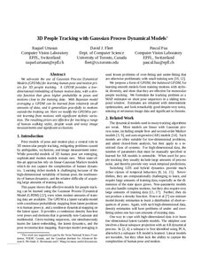 3D People Tracking with Gaussian Process Dynamical Models. CVPR 2006.