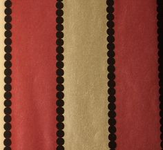 Valentino Stripe Flock Wallpaper Wide stripe pearlised wallpaper in red and gold with black flock spot stripe