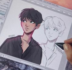 ☁️warm up sketch x bbh☁️ Character Sketches, Character Drawing, Art Drawings Sketches, Cute Drawings, Pretty Art, Cute Art, Itslopez, Boy Drawing, Wow Art