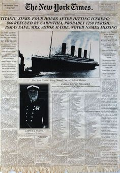 New York Times , 16th April 1912 The Iceman Cometh, New Times, Rms Titanic, World History, Steampunk, Blood, Old Things, Ocean, Ship