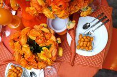 Tangerine tablescape