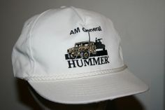 Vintage AM GENERAL HUMMER white Rope Snapback Cap Hat-Trucker/military/army/rare