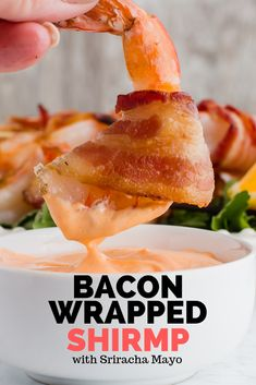 Grilled Jumbo shrimp wrapped in crispy bacon is a hit recipe that you can serve as a keto appetizer or enjoy as your main dinner. Kick up the flavor by dipping your surf into a spicy keto sriracha mayo. Keto Shrimp Recipes, Pork Chop Recipes, Bacon Recipes, Sauce Recipes, Diet Recipes, Healthy Recipes, Sriracha, Bacon Wrapped Shrimp, Meat Diet