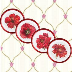 Red flowers - wall decor 4 plates set, home decor, vintage, wall art,  recycled paper, acrylic paint, lacquer, ceramic, wall hanging, prints