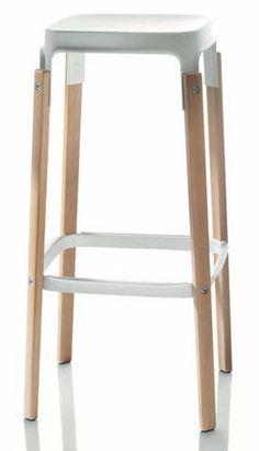 Taburete alto moderno - STEELWOOD by Ronan & E.Bouroullec - ArchiExpo