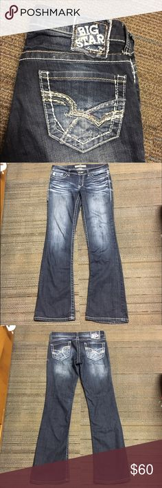 Big star long bootcut jeans Women's big star bootcut jeans from Buckle. They're a size 27 Long. They are the Casey K low rise fit. They're in good condition, there's a very small amount of fraying at the bottom of one leg, it's very minimal.    🌸NO TRADES🌸 🌸OFFERS ARE WELCOME 🌸 🌸FEEL FREE TO ASK QUESTIONS🌸 🌸I DO NOT MODEL🌸 Big Star Jeans Boot Cut
