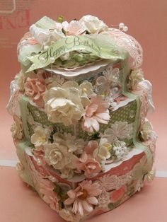 Shabby Chic - Paper Birthday Cake - Graphic 45 Botanical Tea collection.