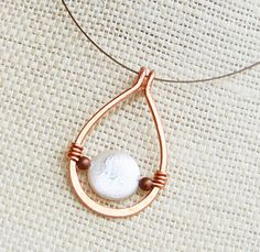 Copper Necklace. Minimalist. Copper. Coin. por Karismabykarajewelry
