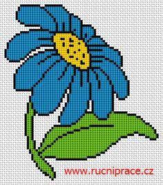 Blue flower, free cross stitch patterns and charts - www.free-cross-stitch.rucniprace.cz