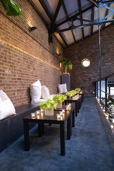 amazing brick and details. the truss, the circle window, the steel guardrail, the brick inset with interior decorating house design Design Café, Deco Design, Cafe Design, House Design, Deco Restaurant, Restaurant Design, Restaurant Ideas, Warm Industrial, Industrial Style